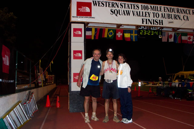 Peter, Bill, Michelle at the finish of the 2003 Western States