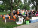 Pre-race gathering of runners and volunteers