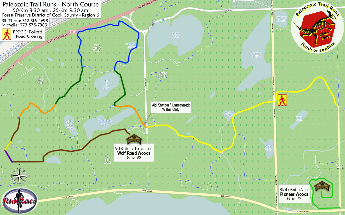 [racecourse map: Paleozoic Trail Runs - Devonian Spring]