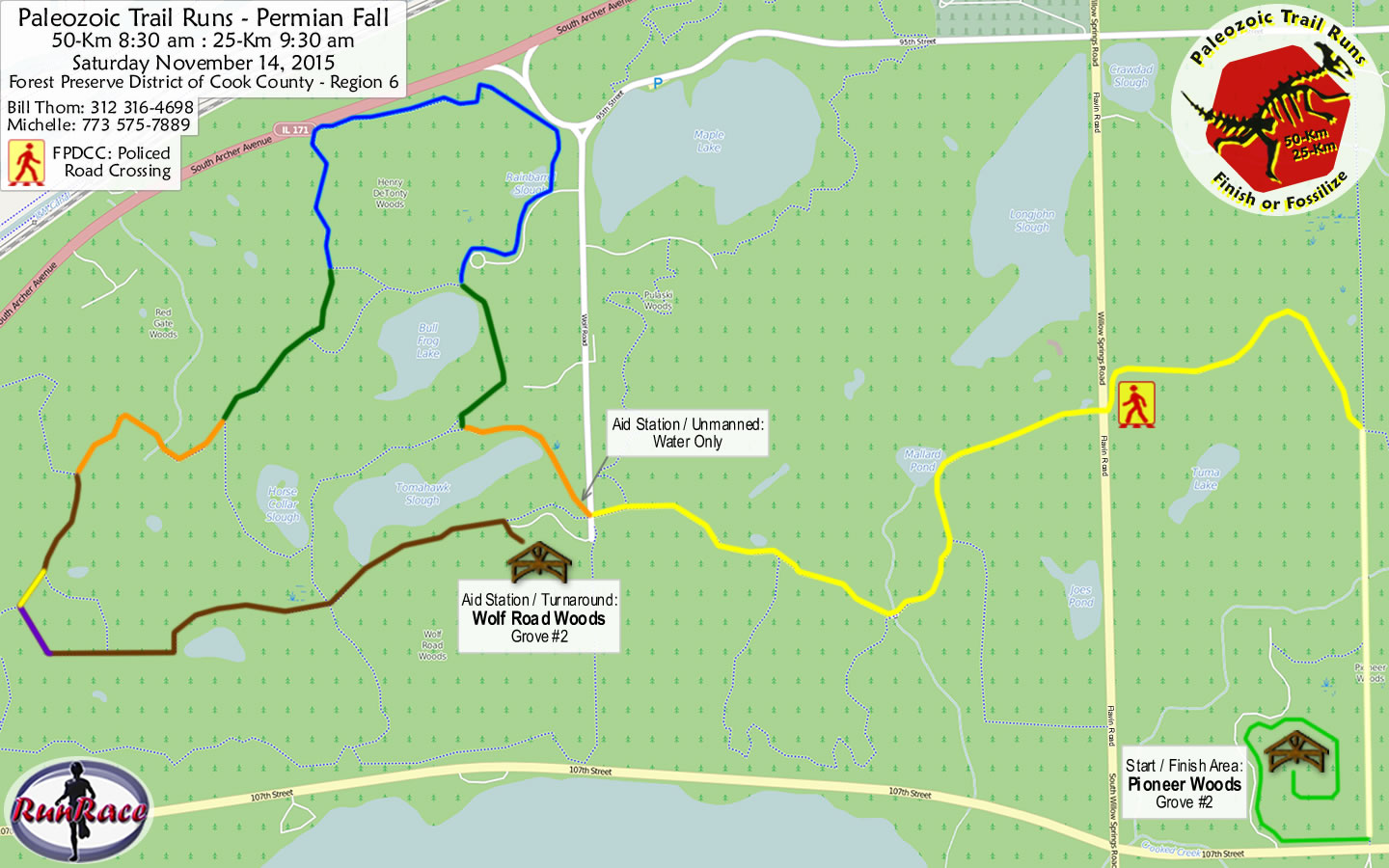 [racecourse map: Paleozoic Trail Runs - Permian Fall]