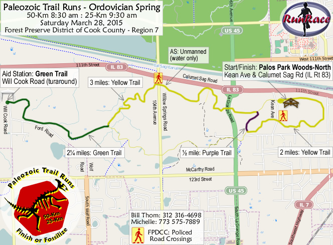 [racecourse map: Paleozoic Trail Runs - Ordovician Spring]