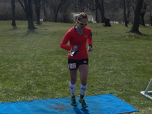 Rachel Ingle of Chicago finishes the 50-Km as Top Female!